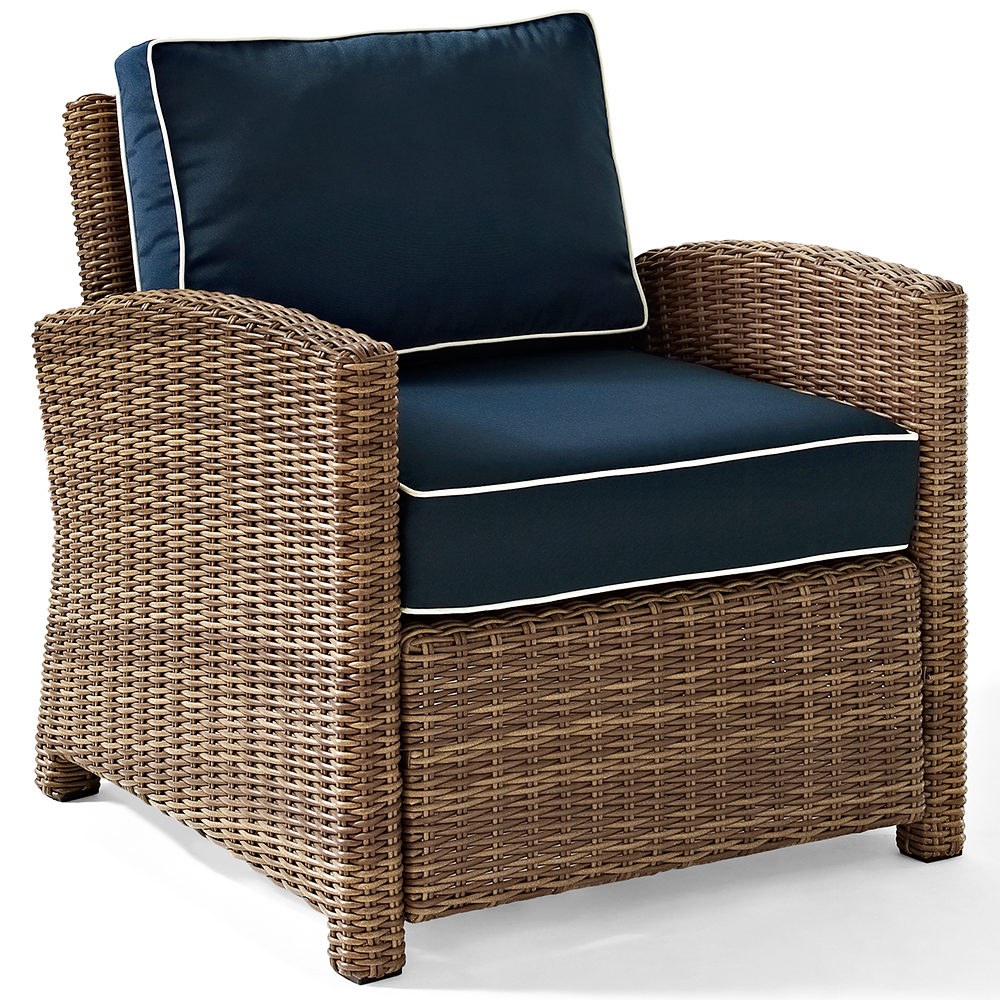 crosley ko70023wb-nv bradenton rattan style outdoor wicker arm chair