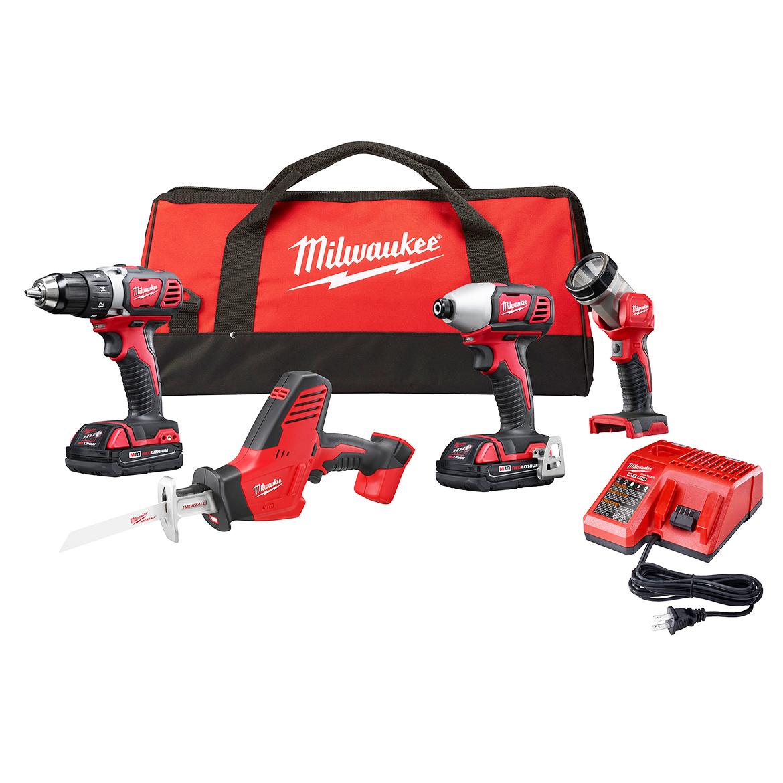 Milwaukee 2695-24CX 18-Volt 3.0Ah 4-Tool Cordless Lithium-Ion Combo Kit