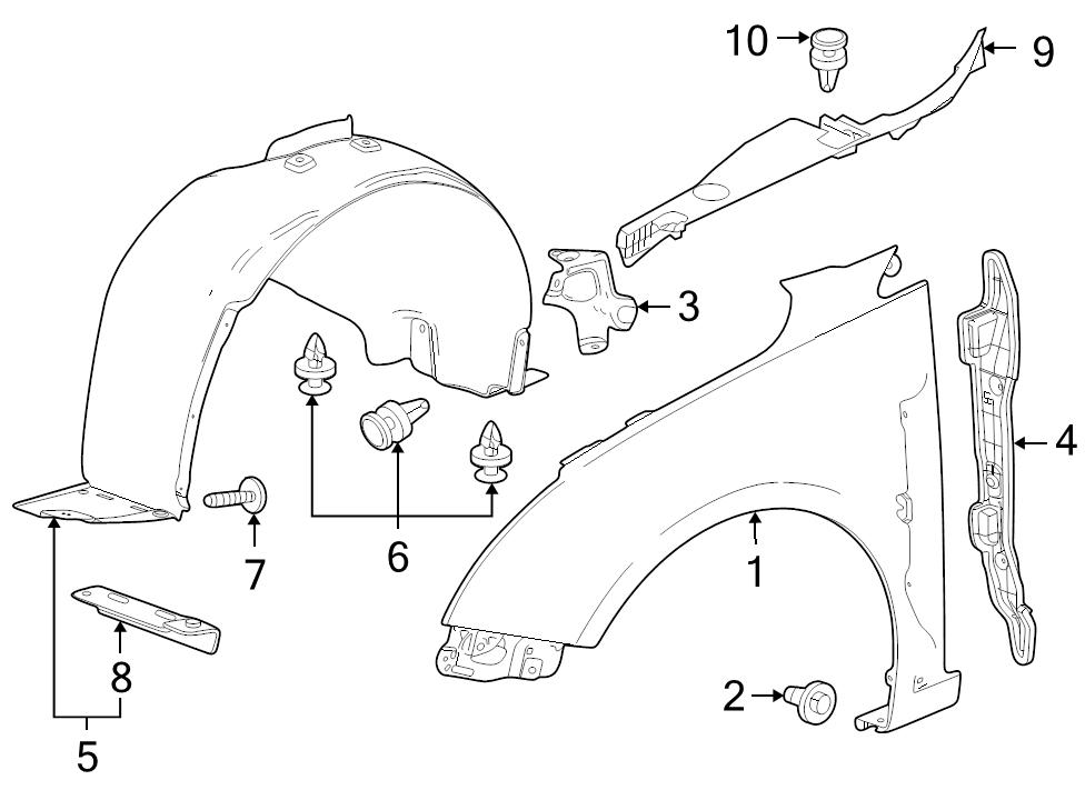 new genuine gm oem lh left driver front fender wheelhouse liner Chevy Truck Dash Components manufacturer part number 95472793 identifed in schematic if applicable