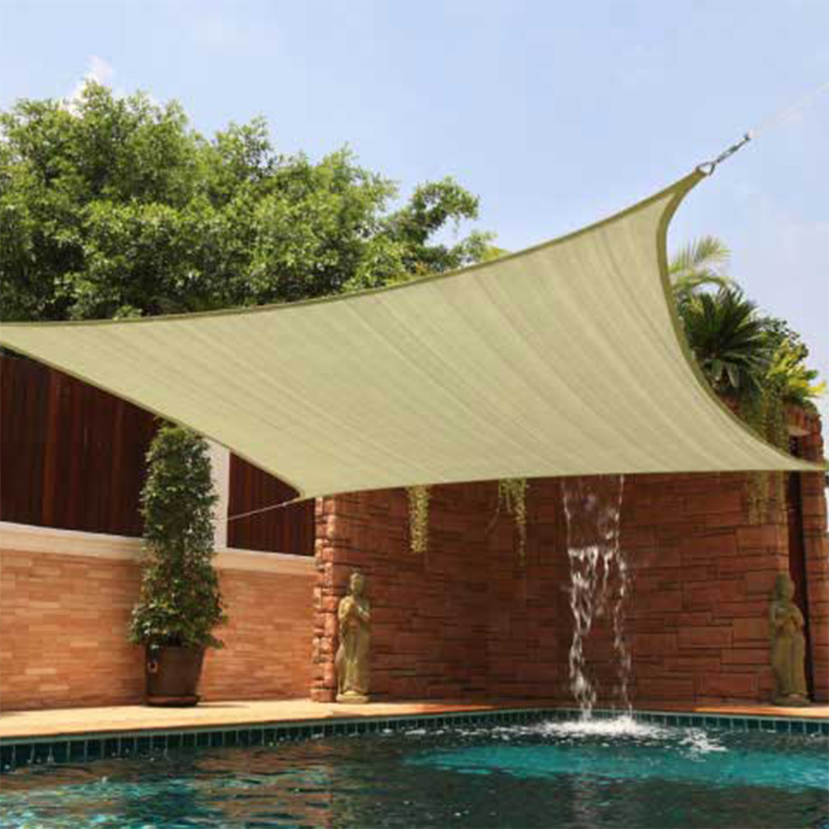 sun shade 12x12 square top sail beige tan sand for deck patio cover new backyard ebay. Black Bedroom Furniture Sets. Home Design Ideas