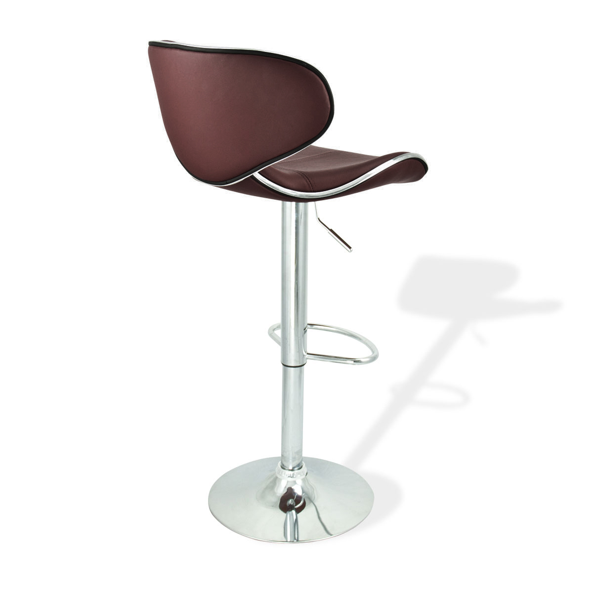 2 Swivel Brown Bar Stool Elegant Pu Leather Modern