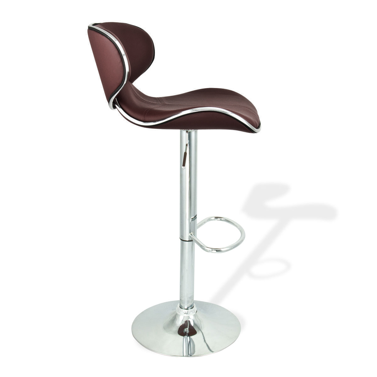 2 Brown Modern Adjustable Barstool Swivel Elegant Pu