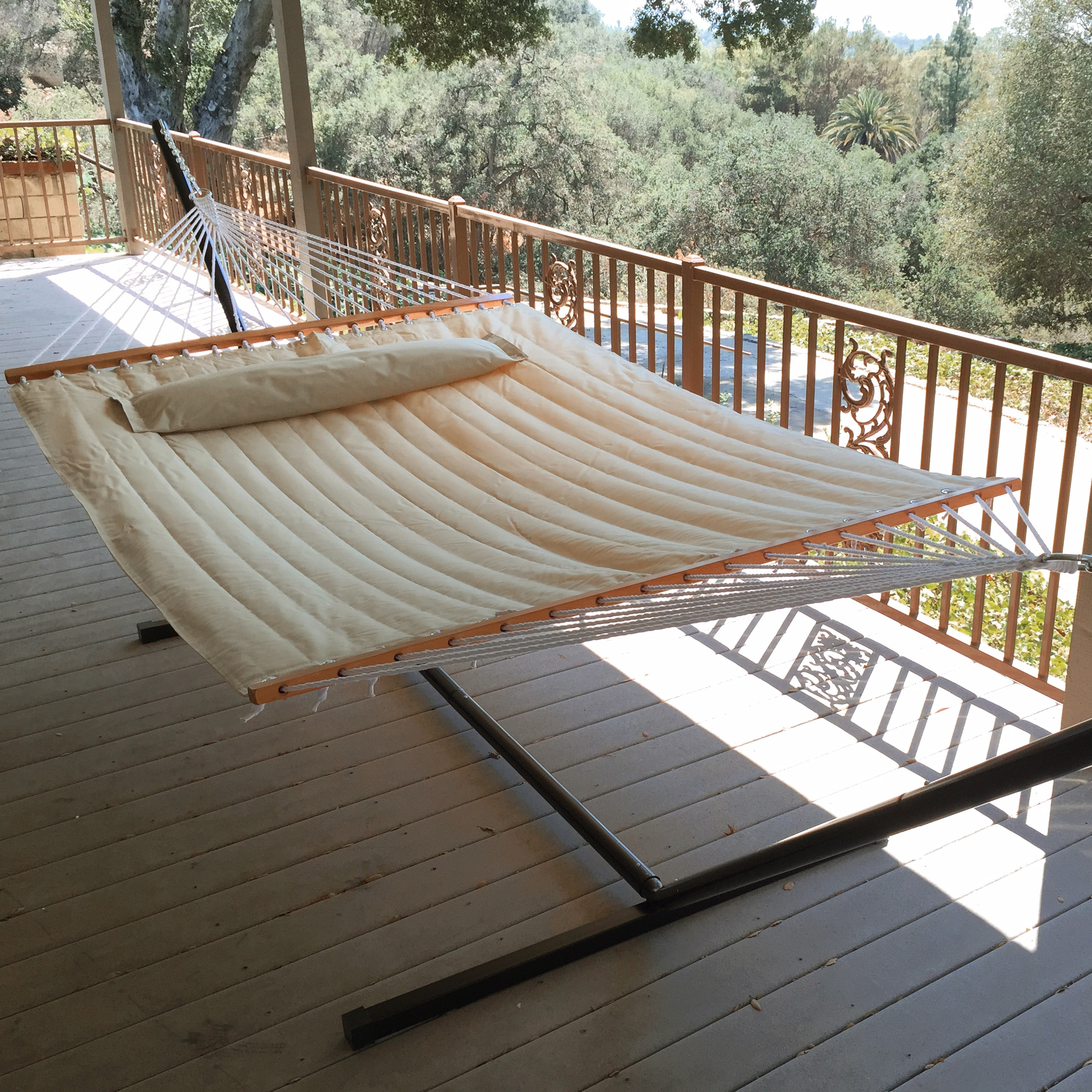 Patio Hammock: New Outdoor Swing Quilted Double Bar Pillow Hammock Patio
