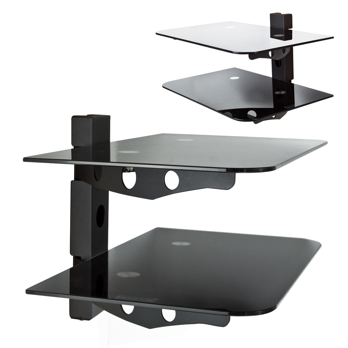 component 2 tier wall mount shelf av dvd cable box game console tv stereo rack ebay. Black Bedroom Furniture Sets. Home Design Ideas