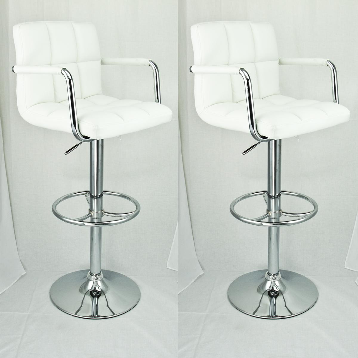 2 Set Swivel Barstools White Arm Leather Modern Adjustable