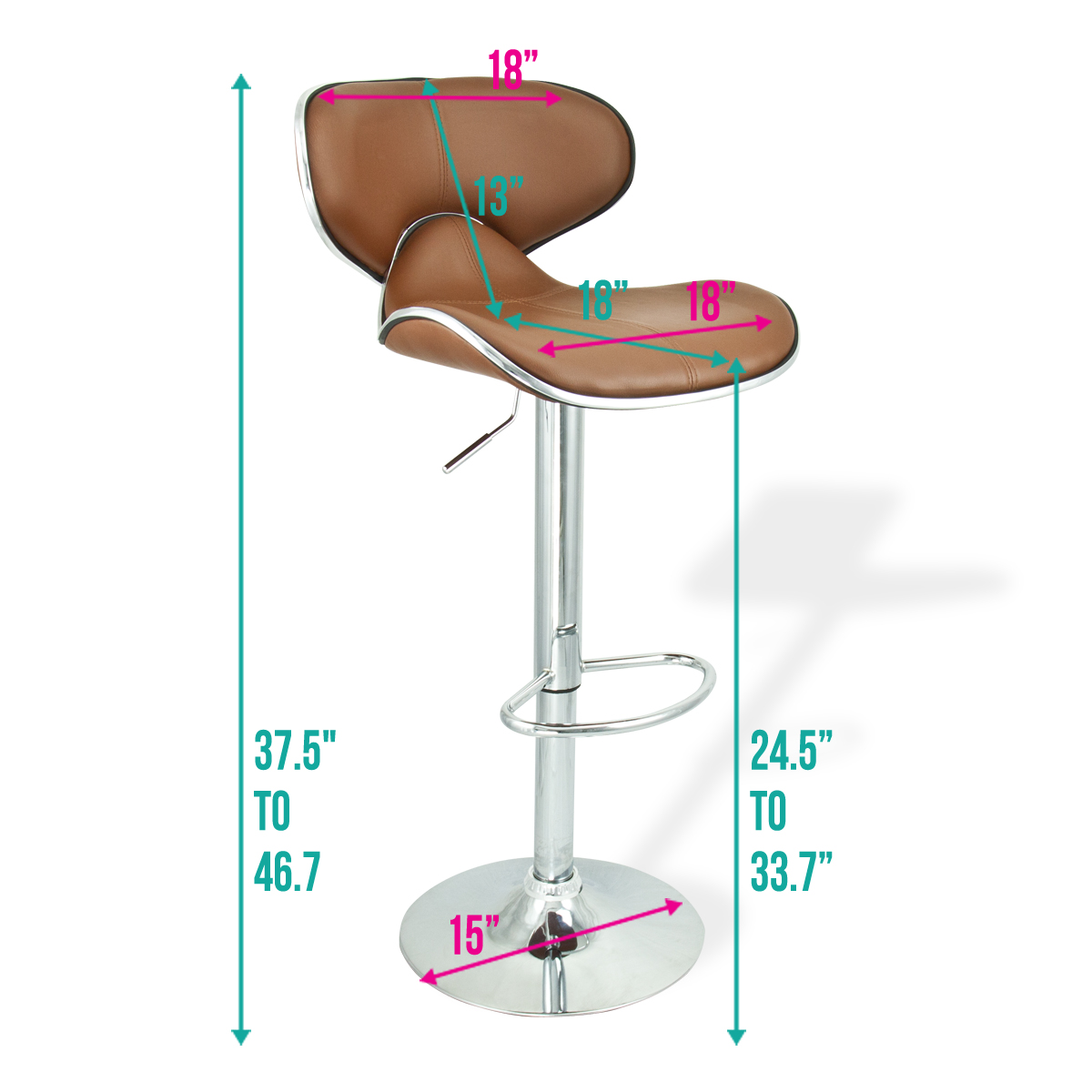 6 Mocha Modern Adjustable Barstool Swivel Elegant Pu