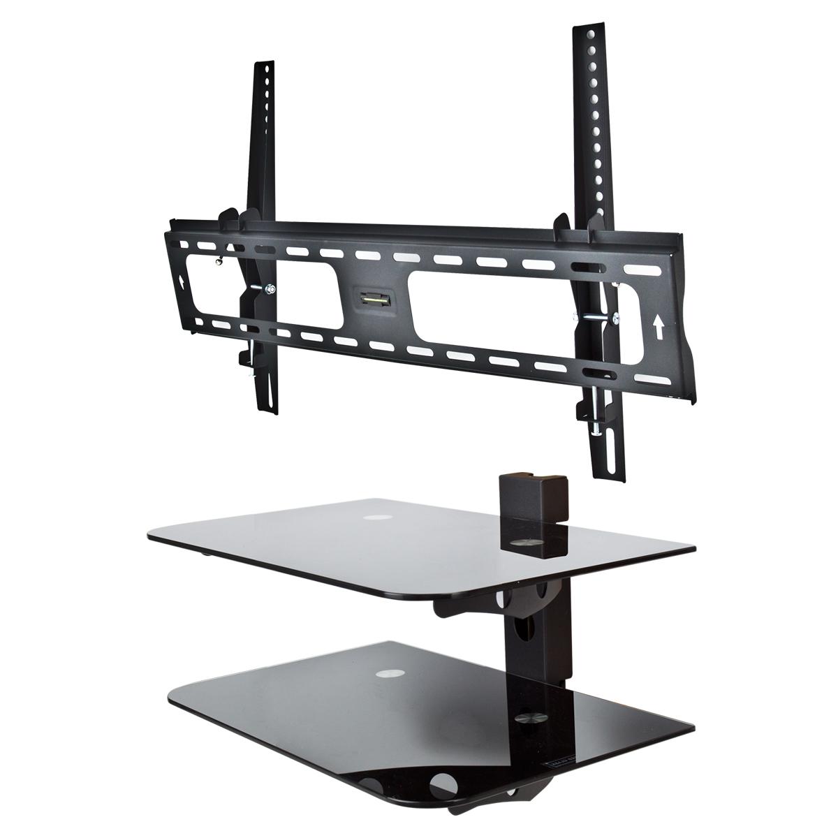 tilt tv wall mount flat bracket 30 60 component shelf 2 tier av dvd stand ebay. Black Bedroom Furniture Sets. Home Design Ideas