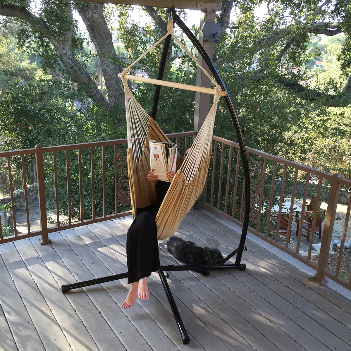 Cotton Rope Chair Cradle C Frame Hammock Steel Stand Air