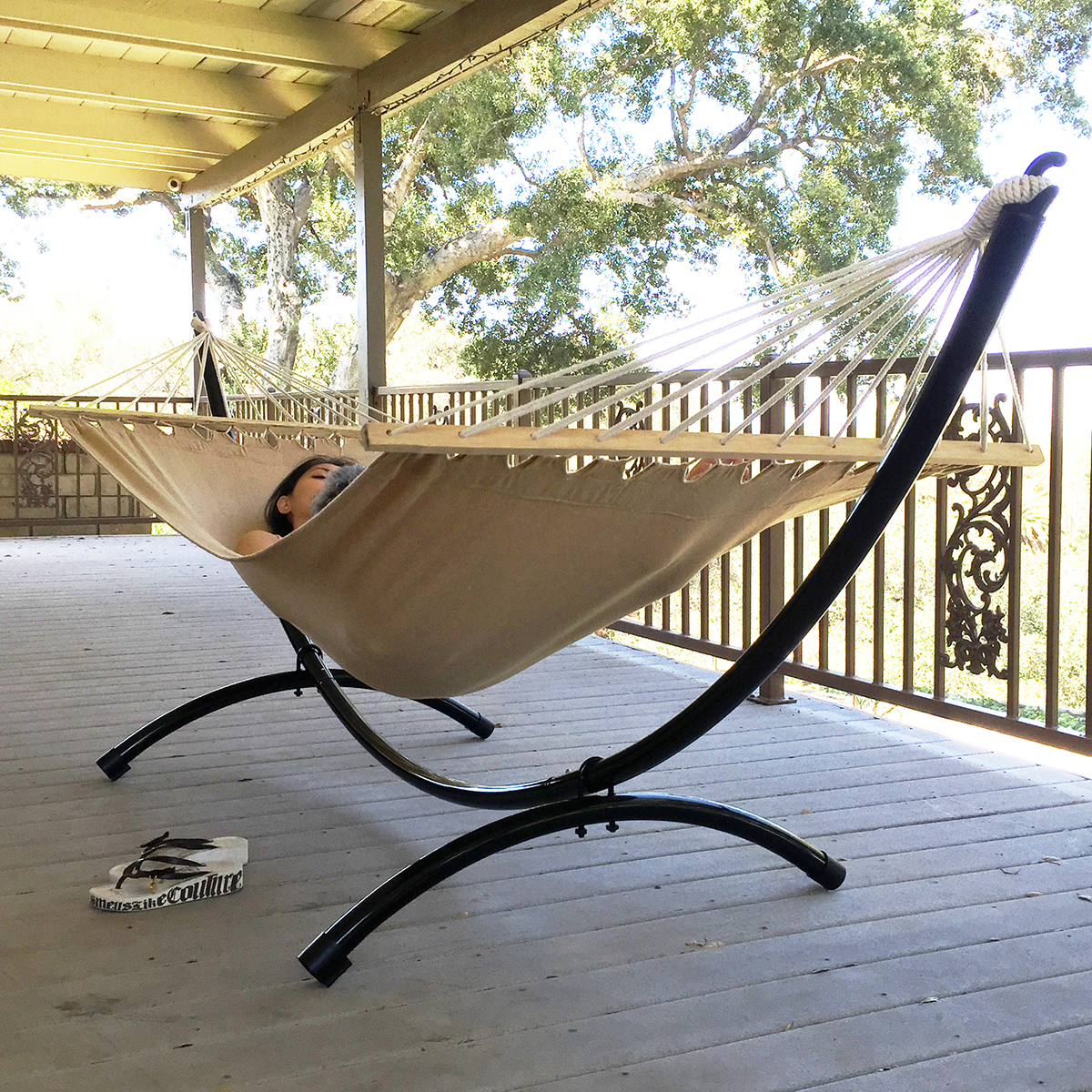 Steel Hammock Stand Heavy Duty Tri-Beam Outdoor Patio ...