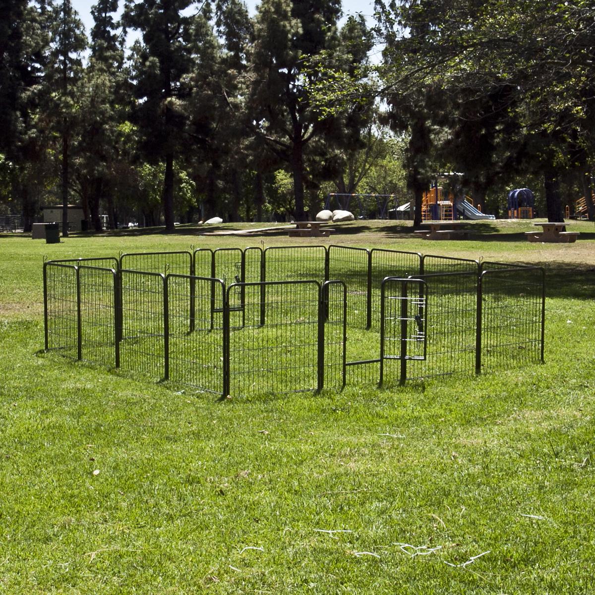 """32"""" 8 Panel Dog Barrier Fence Metal PlayPen Kennel Cage ..."""