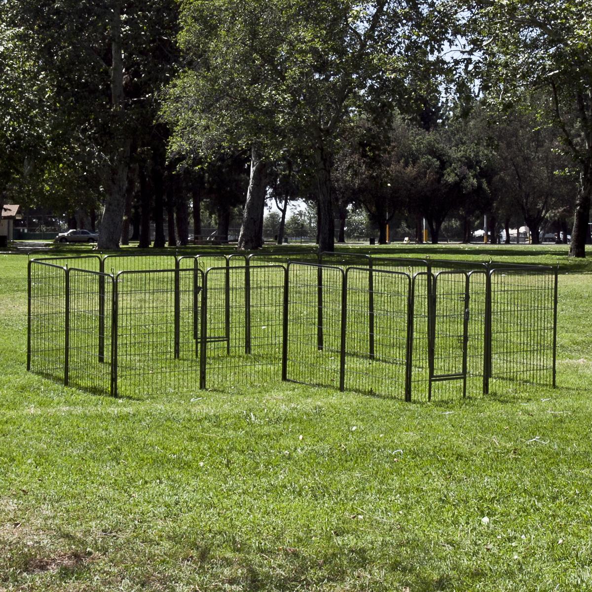 """40"""" 8 Panel Dog Barrier Fence Metal PlayPen Kennel Cage ..."""