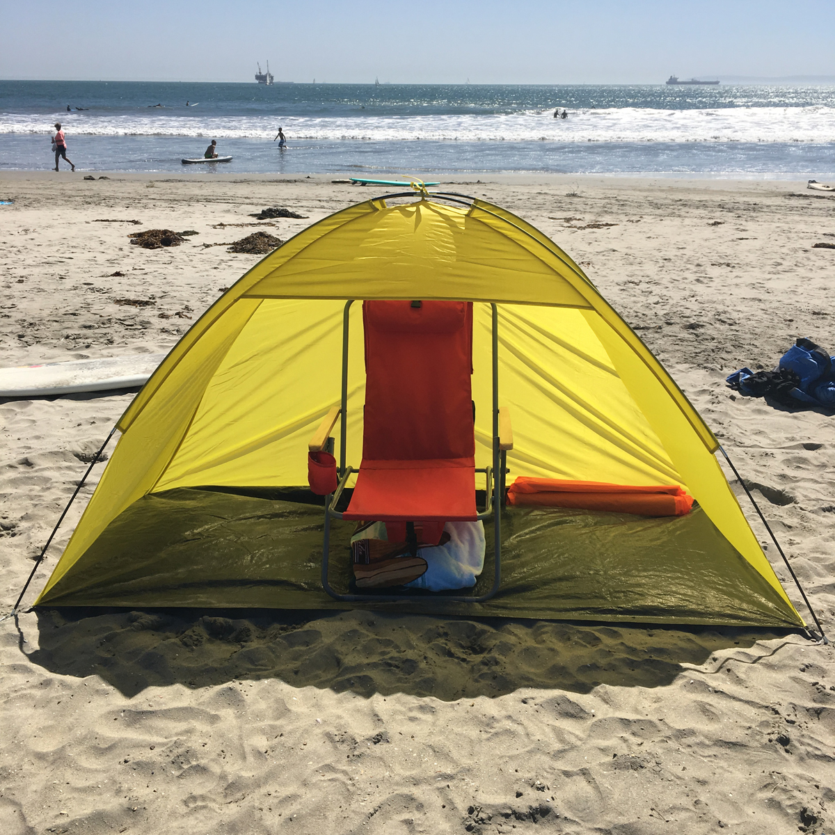 Portable Pop Up Shelters : New portable pop up cabana beach shelter yellow sand tent