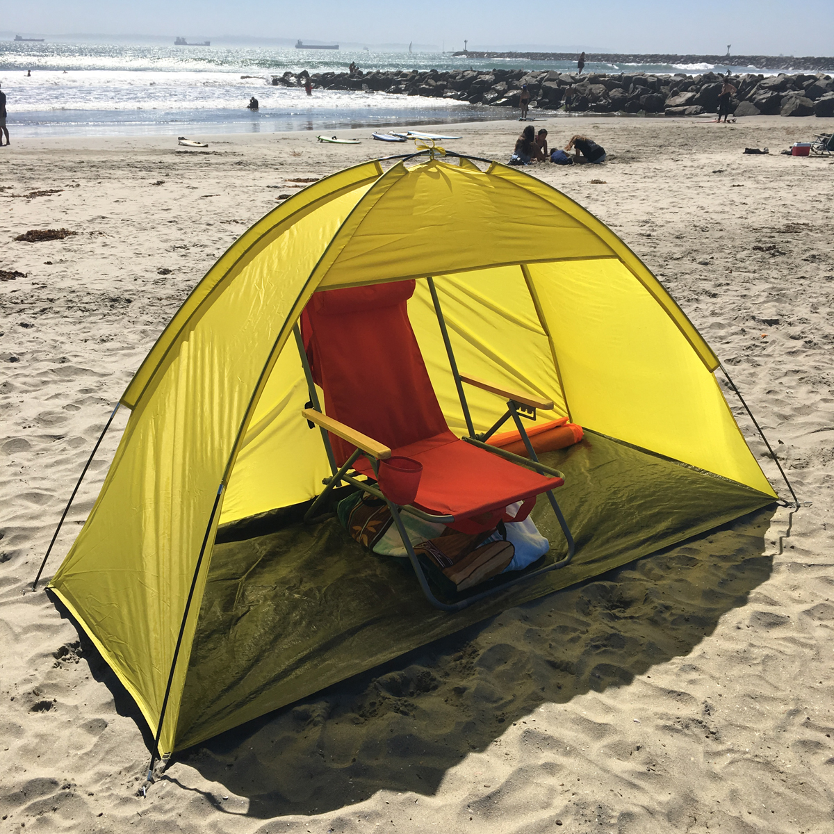 Pop Up Beach Shelters : Yellow person pop up cabana beach shelter baby tent sun