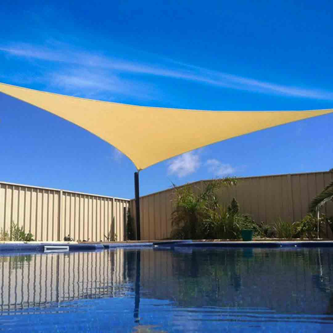 new tan sun shade sail outdoor triangle canopy cover pool patio 16 feet 16 39 x16 39 ebay. Black Bedroom Furniture Sets. Home Design Ideas