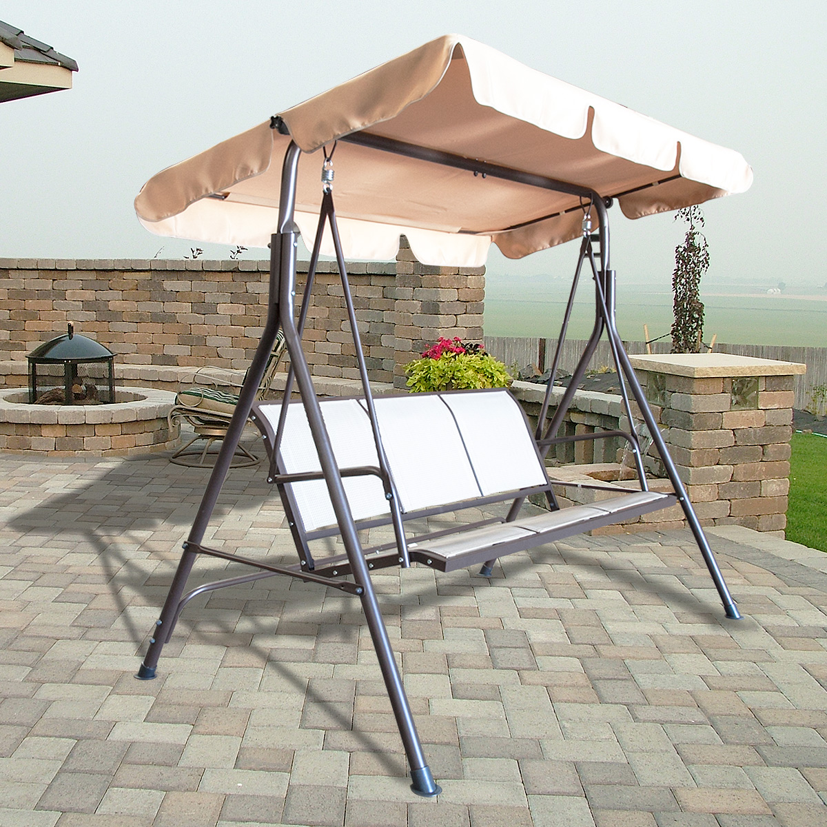 3 Person Canopy Swing Glider Hammock Patio Furniture