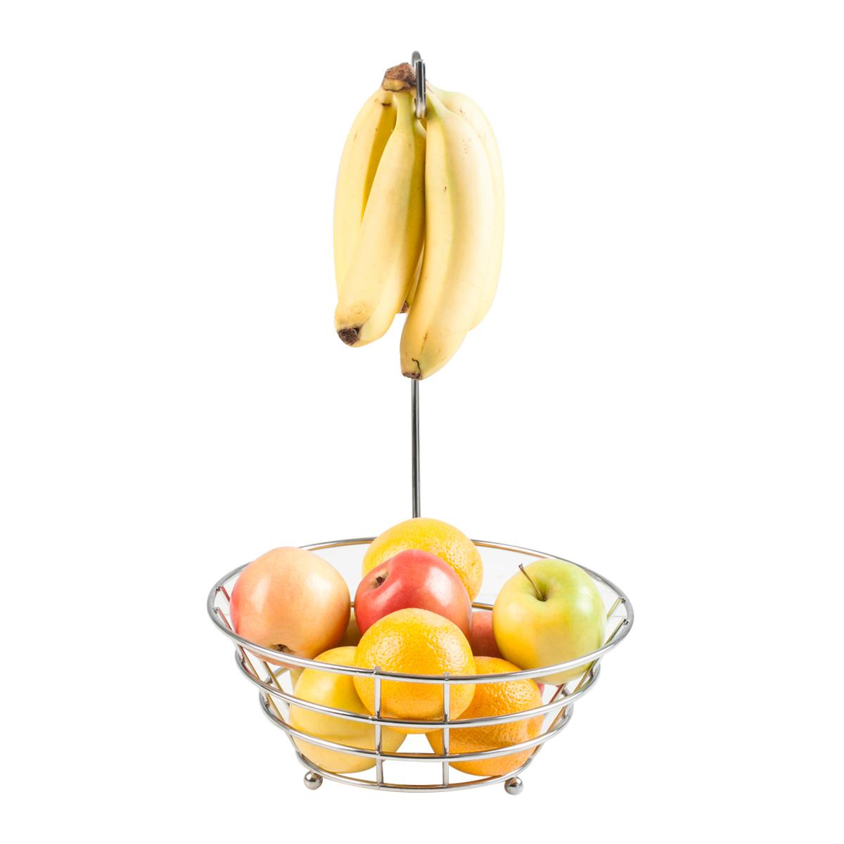 Kitchen Fruit Basket Produce Table Bowl Metal Chrome Wire