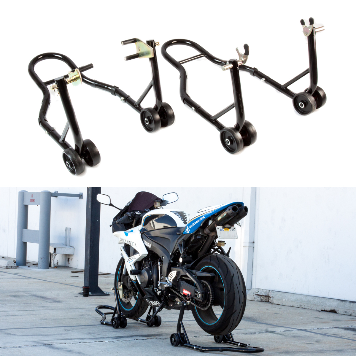 Motorcycle Stand Front Rear Wheel Bike Lift Swingarm