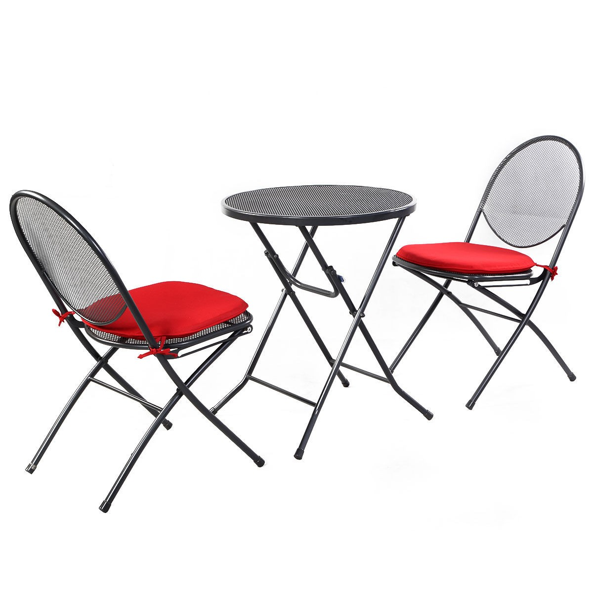 3 pcs folding steel mesh outdoor patio table chair garden for Mesh patio chairs