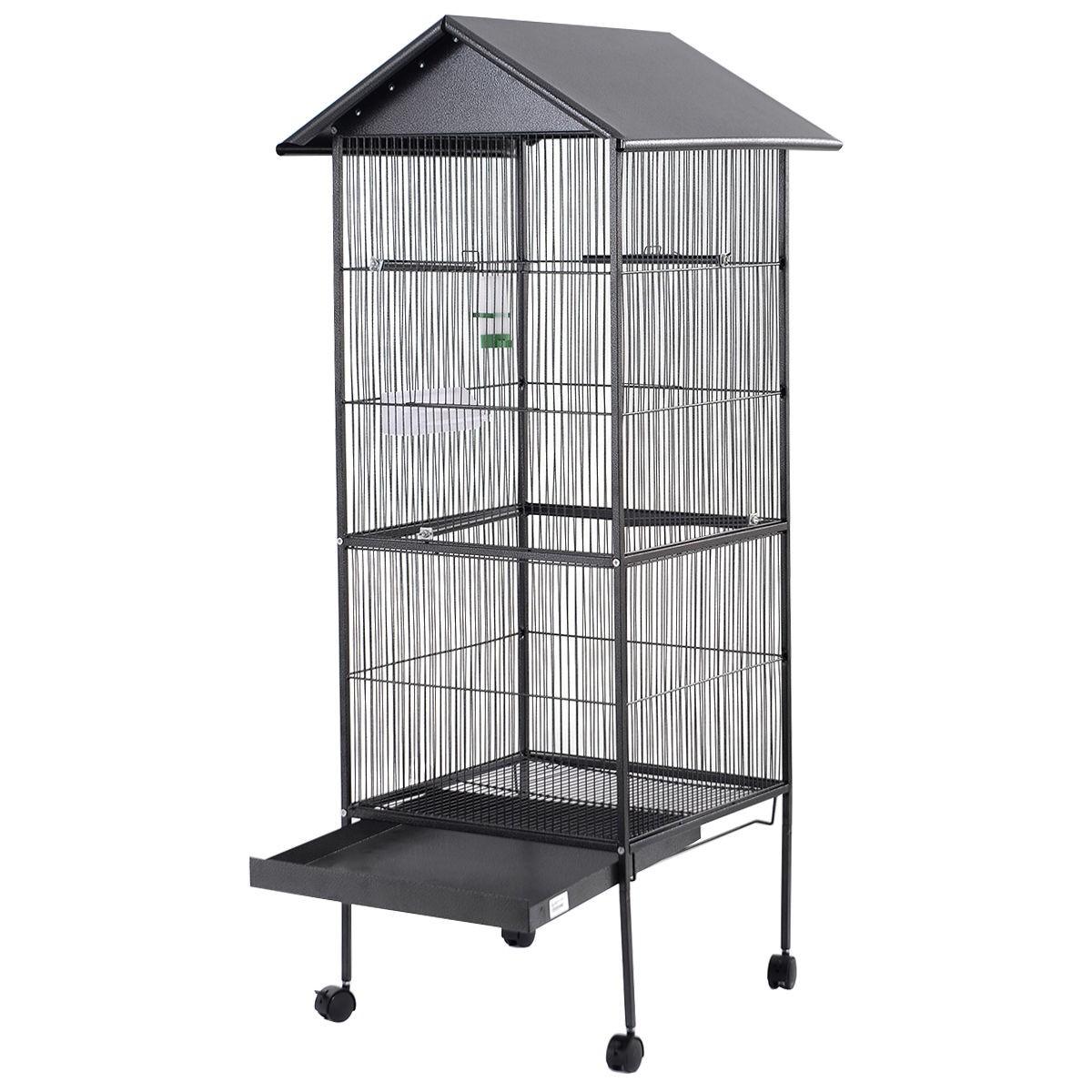 parrot canary pet bird cage black cockatiel parakeet finch crate feeder perch ebay. Black Bedroom Furniture Sets. Home Design Ideas