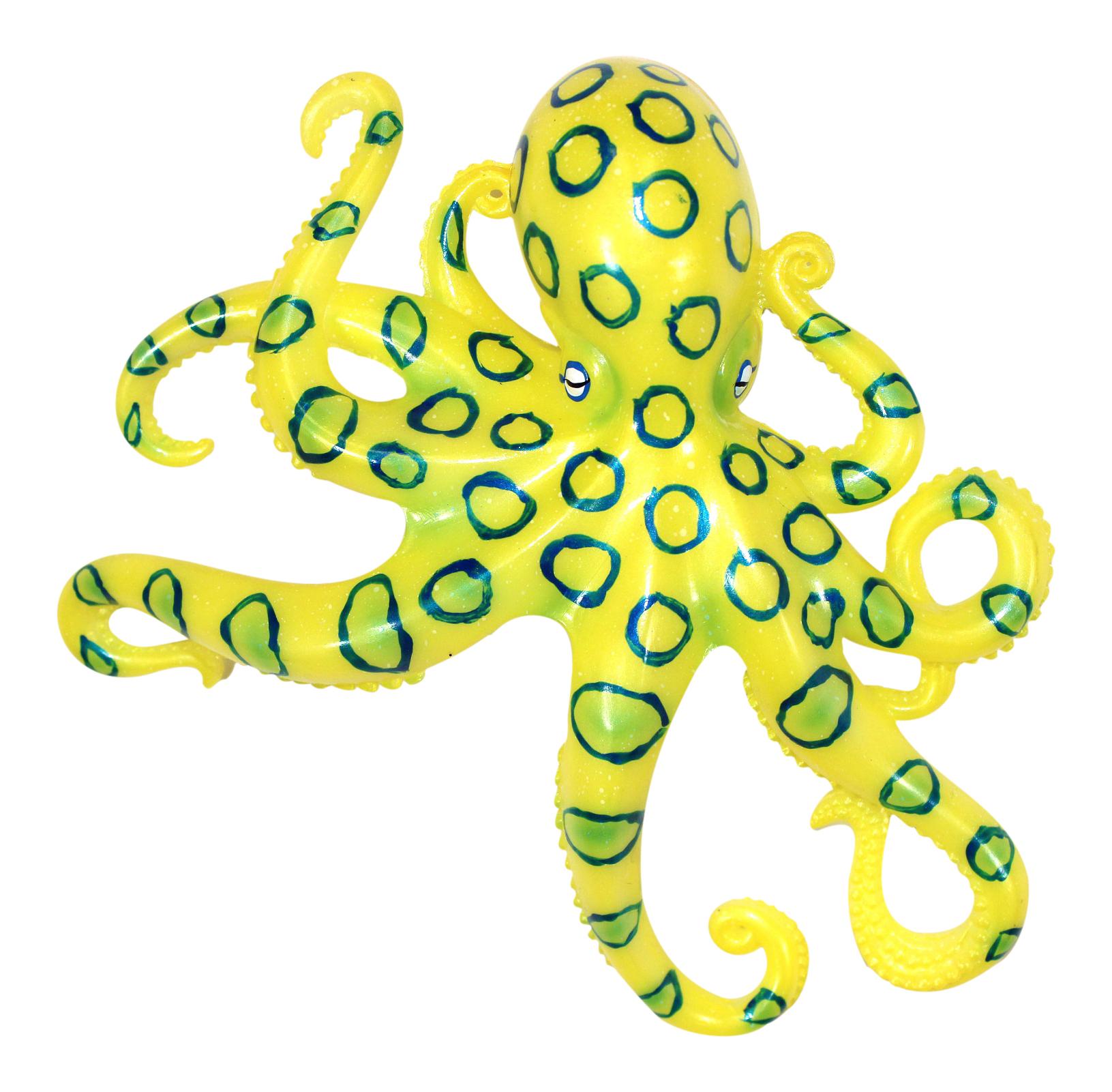 Coastal Sea Creature Yellow Octopus 9 Inch Wall Decor Resin Plaque ...