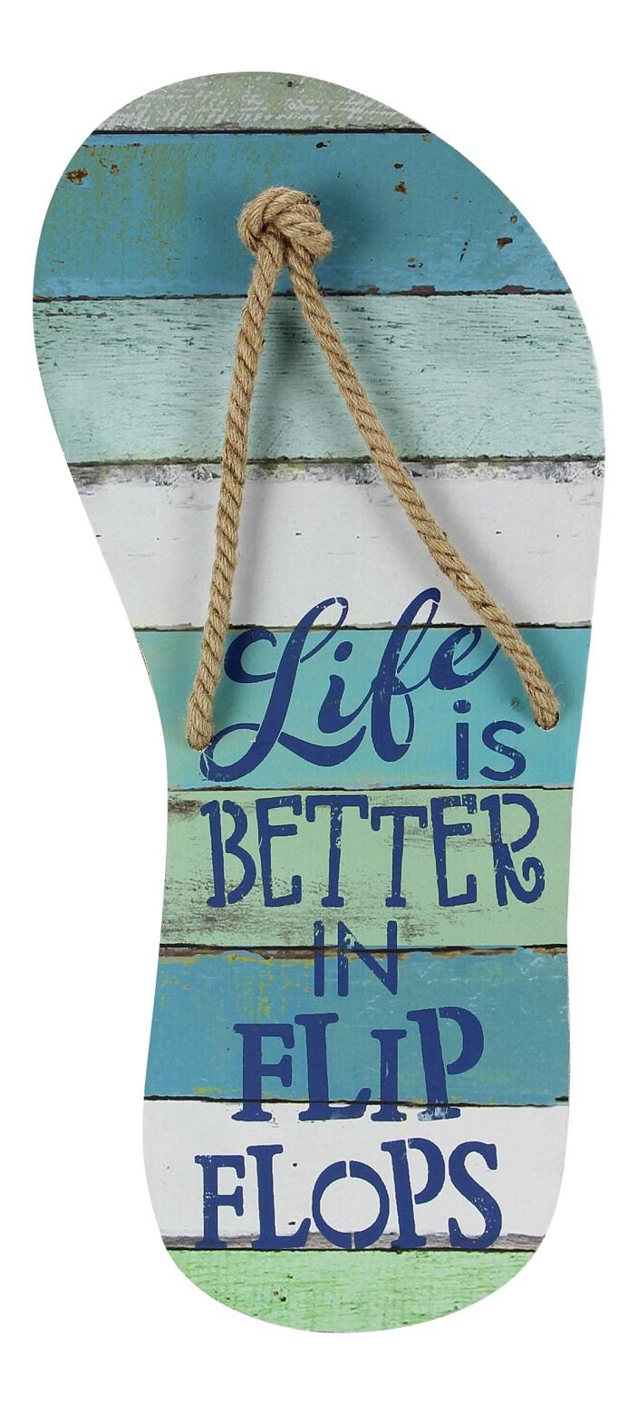 Wood Life is Better In Flip Flops Slatted Wood 22 Inch Wall Decor ...