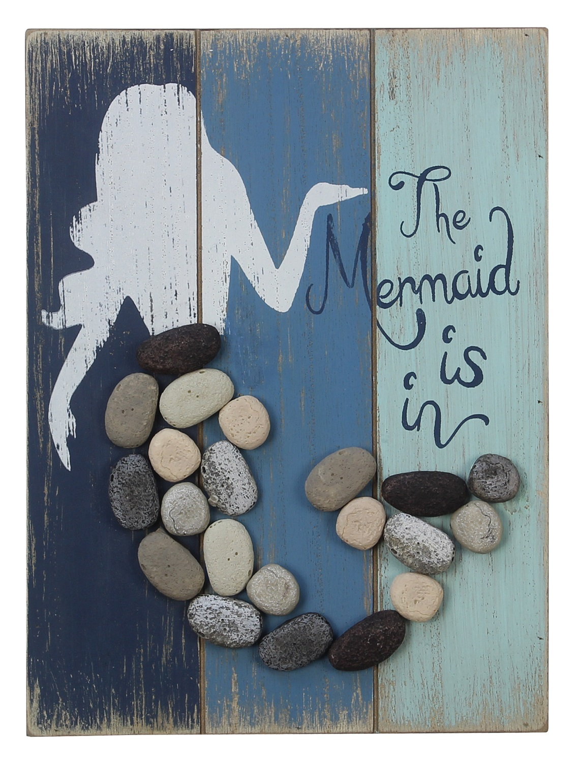 The Mermaid Is In Wood and Pebble Stones Wall Sign 9 Inches ...