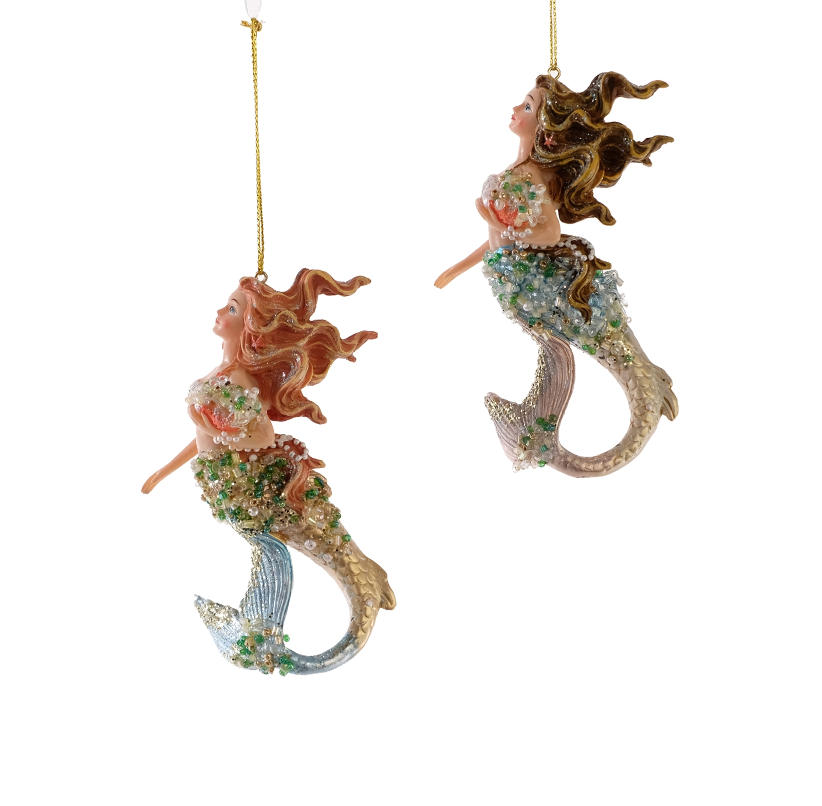 Katherine/'s Mermaids Sea Treasures Christmas Holiday Ornaments Set of 2