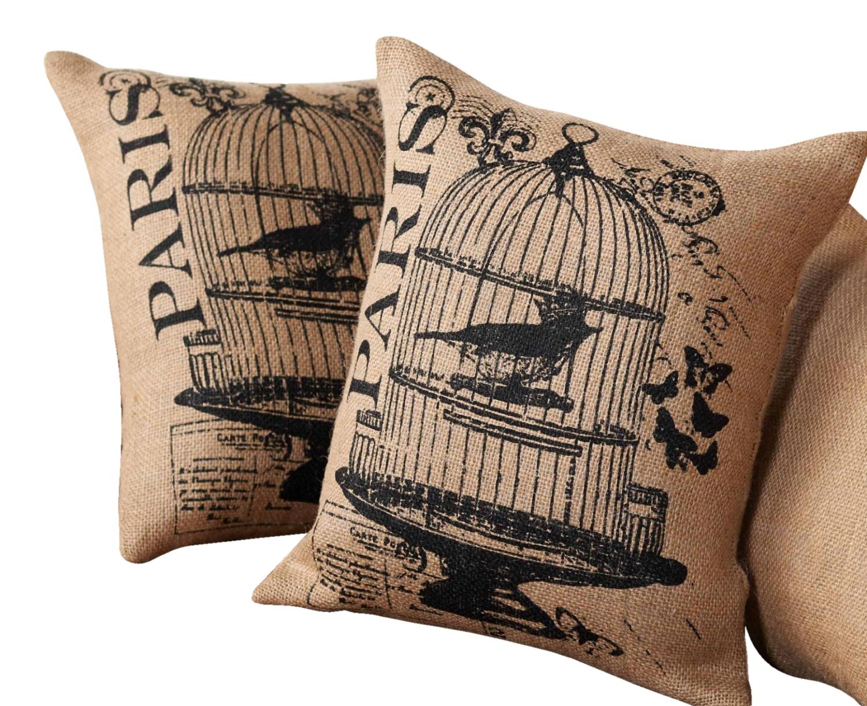Mud Pie Bird Cage Fleur De Lis Pillows Burlap 12 Inch Set Of 2 Paris