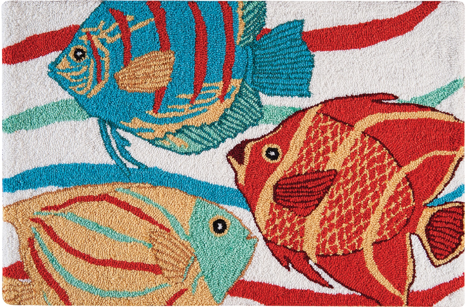 South Seas Tropical Fish Red Blue Yellow Hooked Accent Throw Rug 36 ...