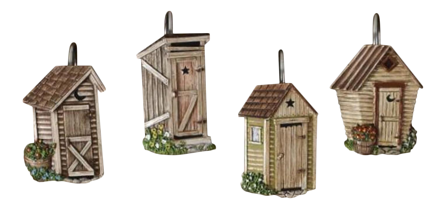 Details About Outhouses Shower Curtain Hooks Country Rustic Bath Decor