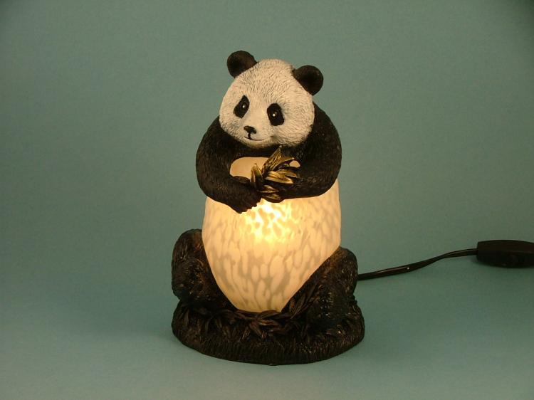 Panda Bear Children Kids Room Decor Glass Lamp