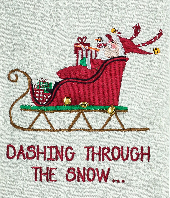 Dashing Through The Snow Santas Sleigh Embroidered Kitchen Dish