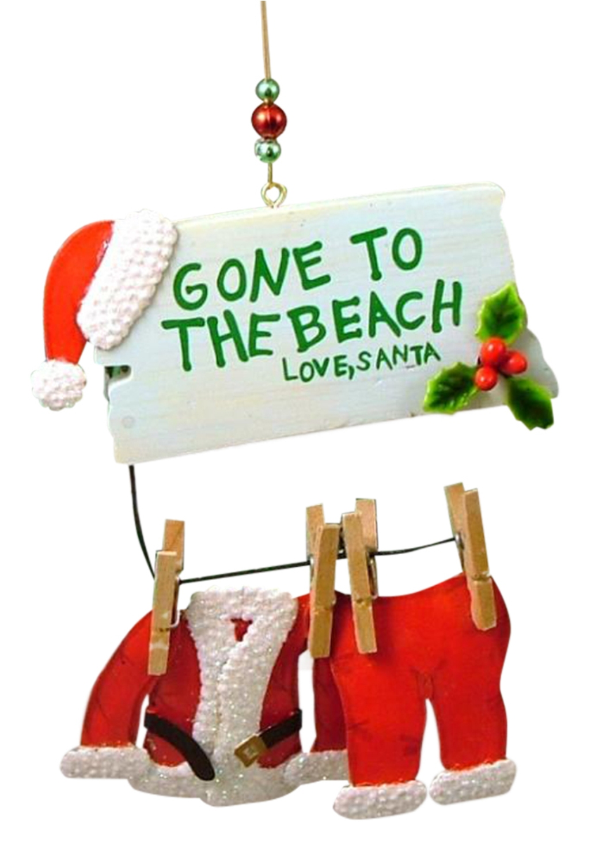 Santa Claus Gone to the Beach Love Santa Christmas Holiday Ornament ...