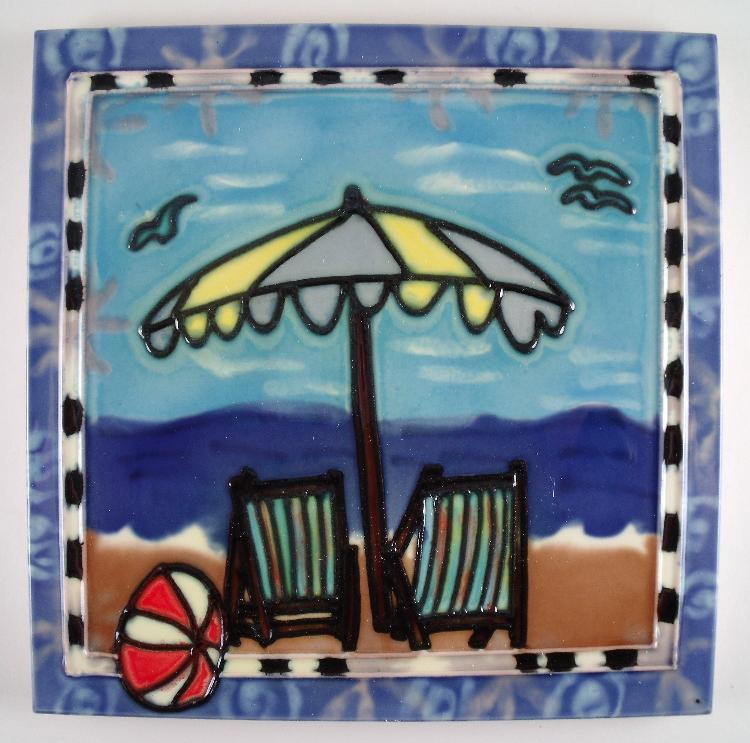 Ocean Beach Chairs Umbrella Scene 6 Inch Ceramic Tile Art Ebay