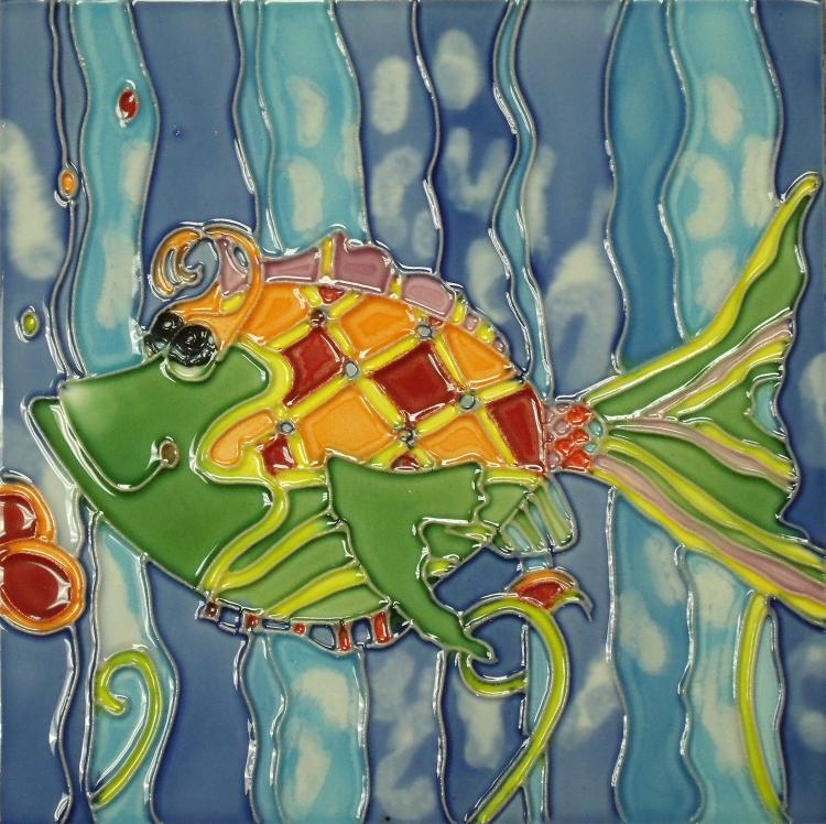 Fun Colorful Christina Green Tropical Fish 6x6 Inches Ceramic Tile