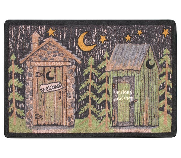 Rustic Lodge Outhouse Bathroom Rug Mat Out To The Woods Ebay