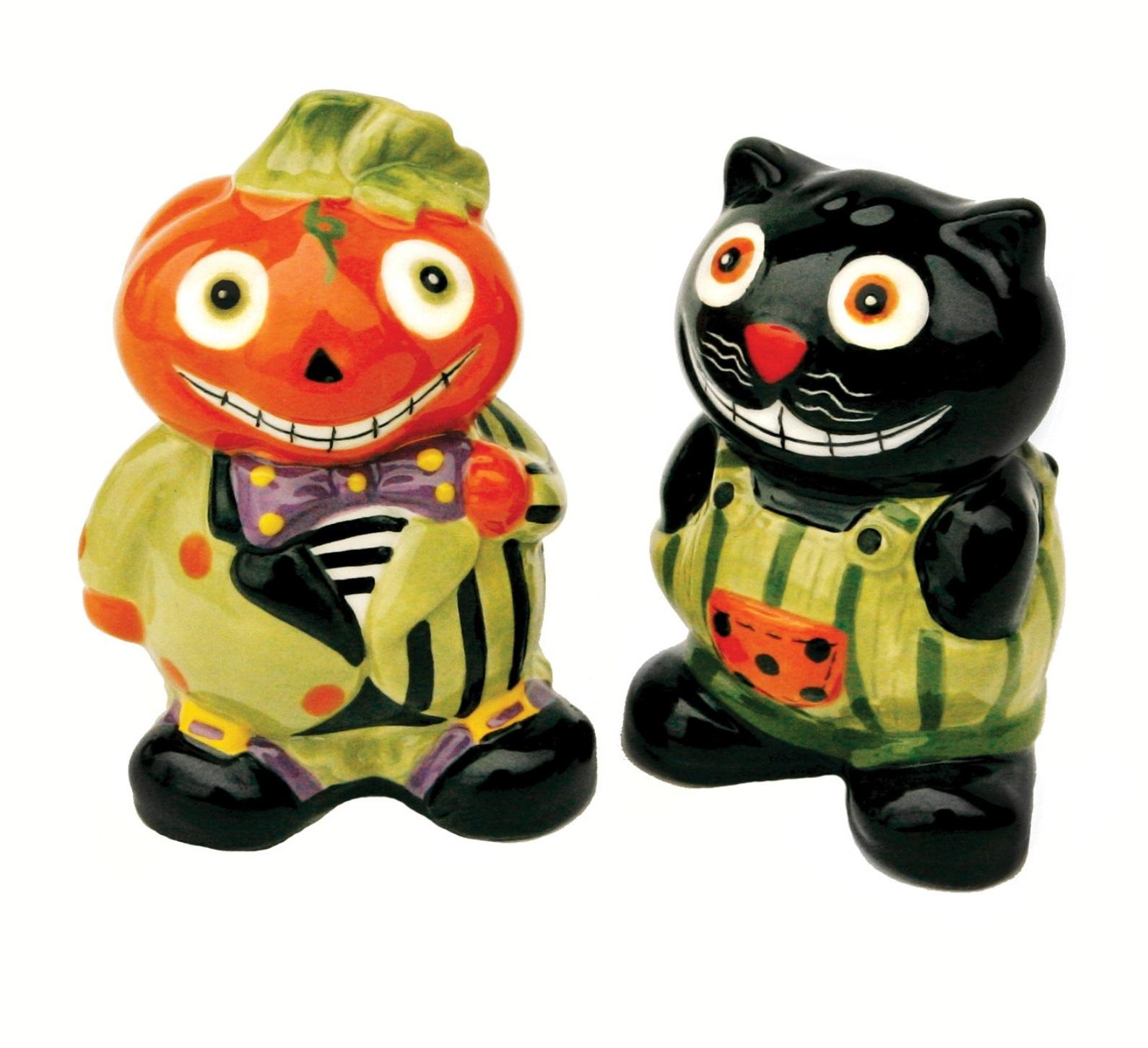 Ceiling Fan Pulls Decorative Halloween Pumpkin Jack and Black Cat Ceramic Salt and ...