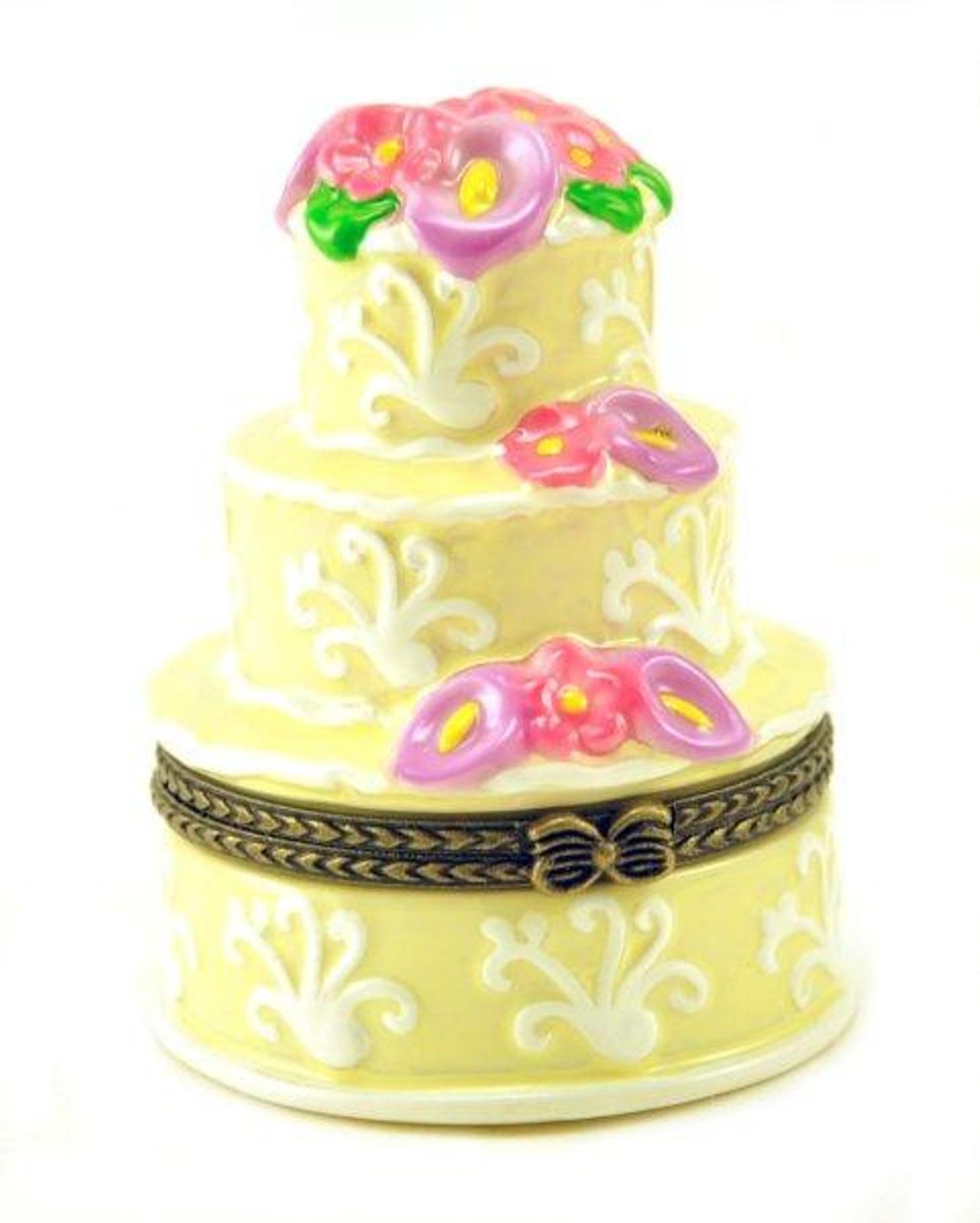 Bakers Dream Elegant Three Layer Wedding Cake Hinged Porcelain ...