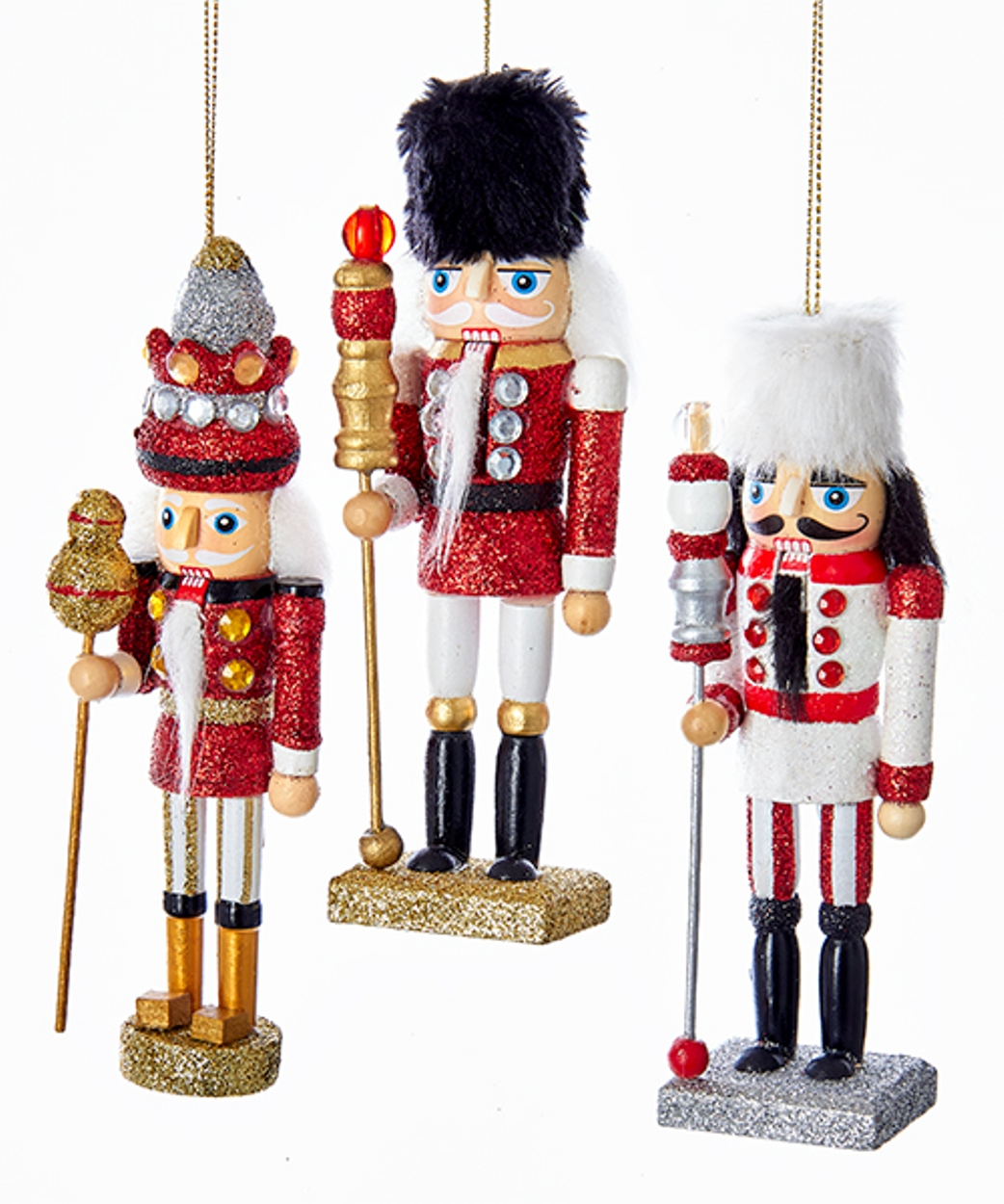 Kurt Adler Hollywood Red White Soldiers Nutcracker Holiday Ornaments ...