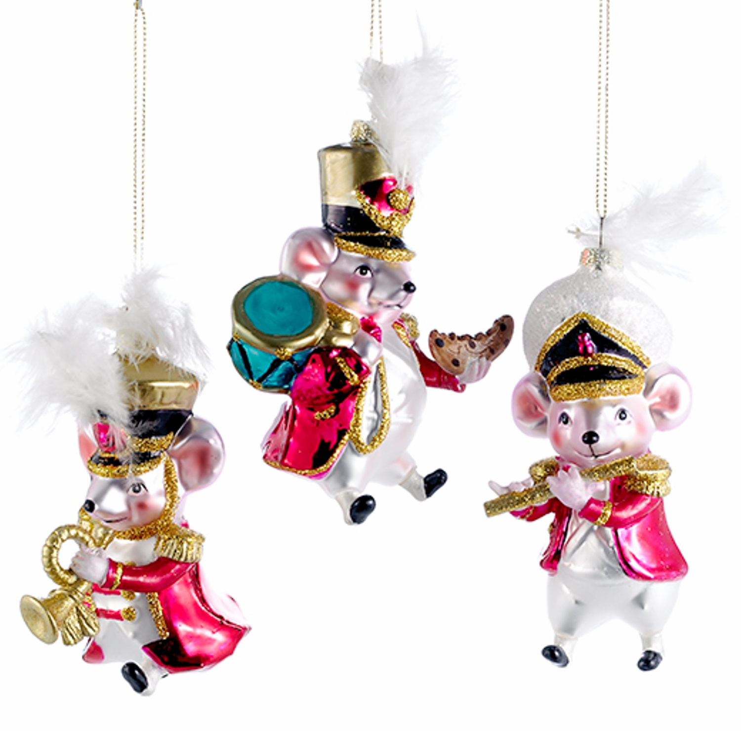 Musical Mice Marching Band Christmas Holiday Ornaments Set ...