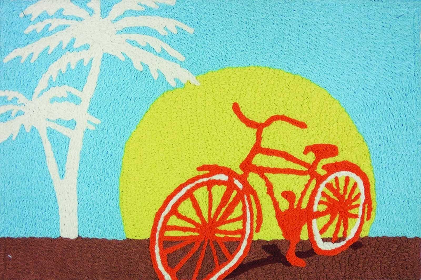 Miami Cycling Bicycle on Boardwalk Washable 21 X 33 Area Acc