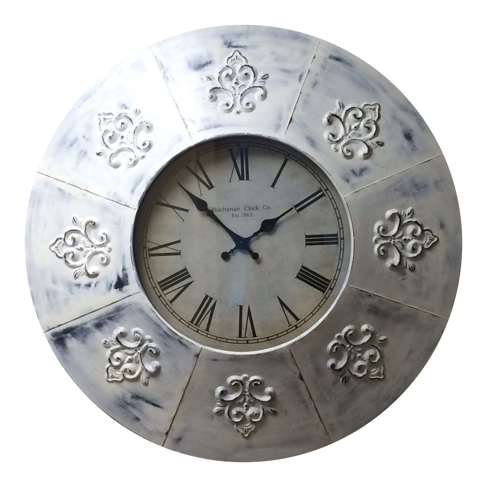 Fleur de lis Wall Clock Distressed Round Metal 23 Inch Battery
