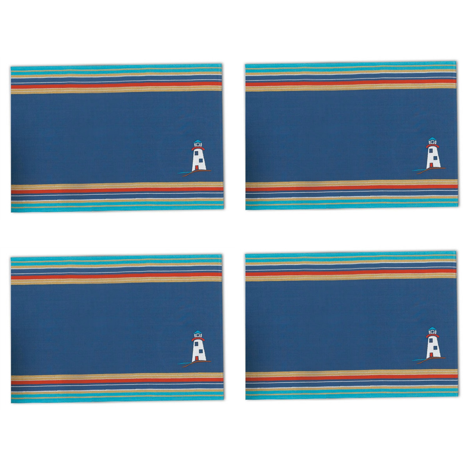 Lighthouse Embroidered Fabric Kitchen Dining Placemats Set of 4 Kay ...