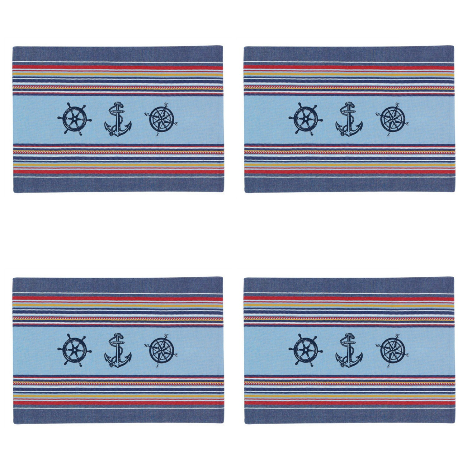 Nautical Anchor Compass Ships Wheel Kitchen Placemats Set of 4 Blue ...