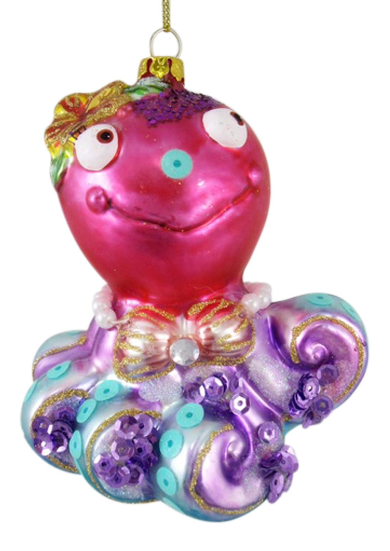 Pretty Pink and Purple Coastal Octopus Glass Christmas ...