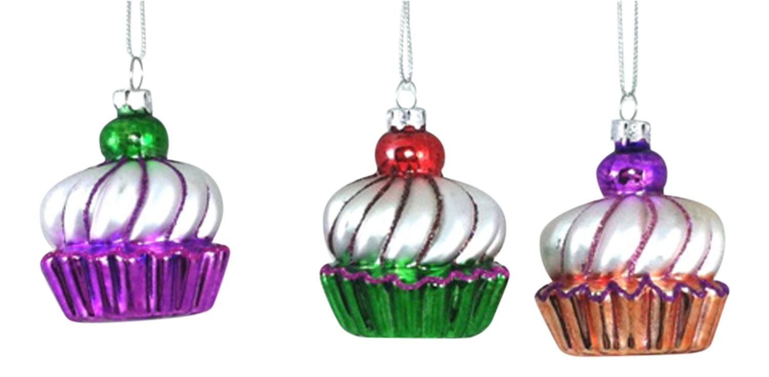 Bakers cupcakes with cherry top glass christmas holiday