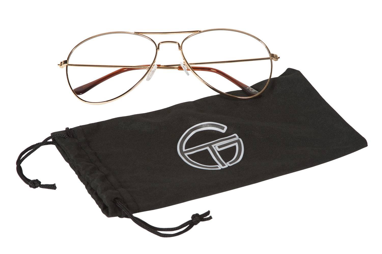 e2e112aa371 Gravity Shades Clear Lens Gold Aviator Sunglasses