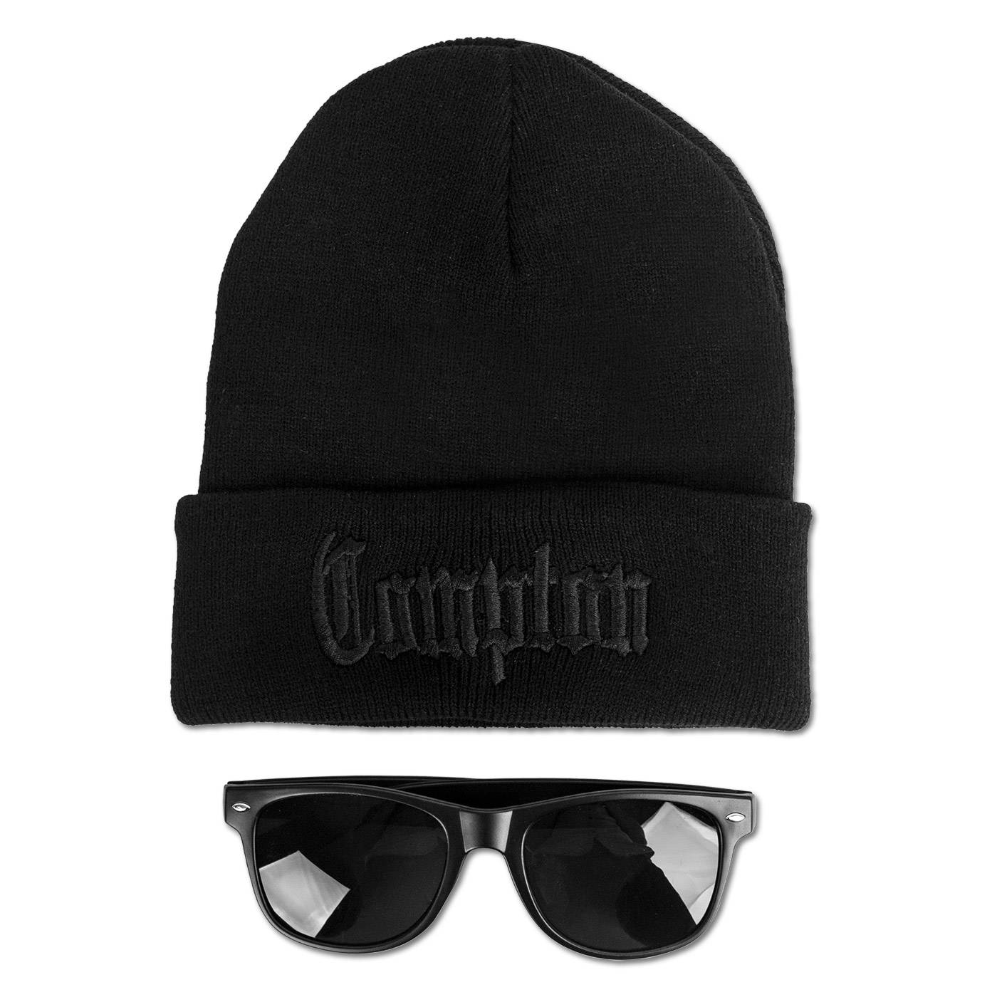 Includes snapback hat, black beanie, and black sunglass Compton Bundle Pack