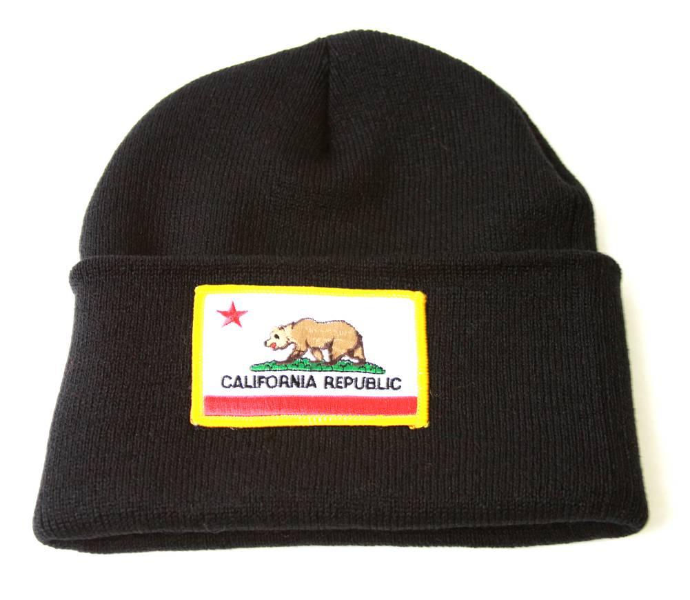 7bca3857639 Golden California Bear Flag Long Cuffed Beanie - Black 716894365322 ...