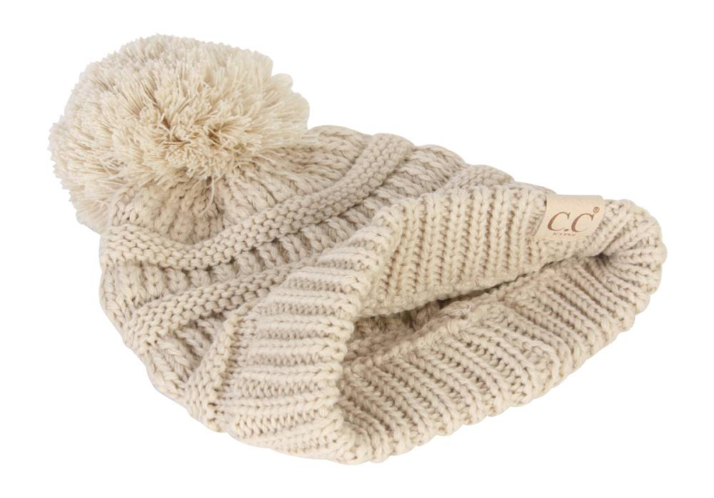 3441efa5e26 Gravity Threads Kids Cable Knit Thick Soft Beanie w  Pom